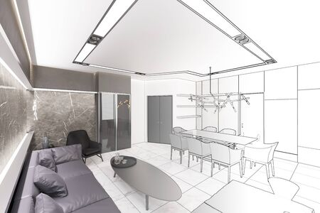 3d illustration. Sketch of modern living room turns into a real interior
