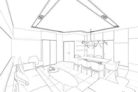 3d illustration. Sketch of modern living room 免版税图像