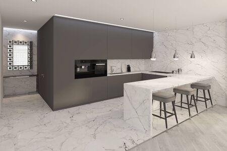 3d illustration. Modern dining room interior
