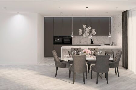 3d illustration. A modern gray kitchen with mock up wall 免版税图像