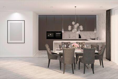 3d illustration. A modern gray kitchen with mock up frame