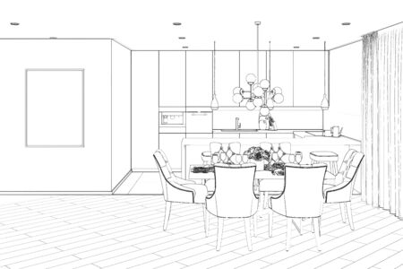 3d illustration. Sketch of the modern dining room 免版税图像