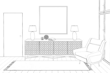 3d illustration. Sketch of modern hall with a picture of a chair