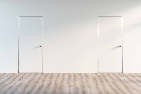 3d illustration. An empty hall with two doors