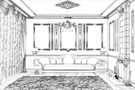 3d illustration. Sketch of living room with fireplace 免版税图像