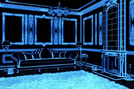 3d illustration of blue wireframe classical living room