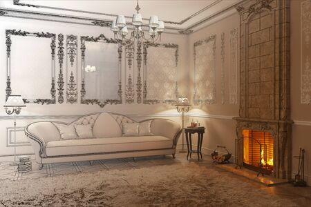 3d illustration. Beige classic living room with fireplace becomes a drawing 免版税图像