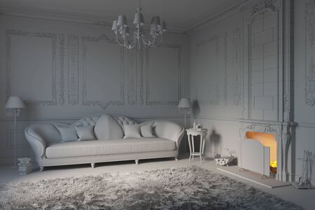 3d illustration of white living room without materials