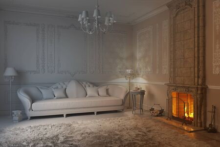 3d illustration. Beige classic living room with fireplace becomes a white render 免版税图像
