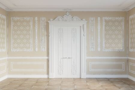 3d illustration. Door in the classical interior