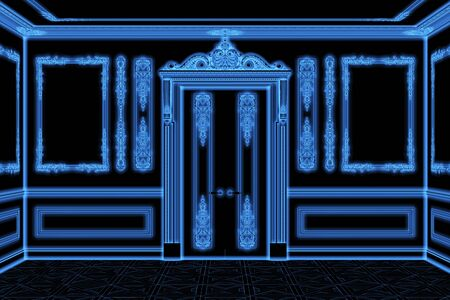 3d illustration of blue wireframe classical interior with the door