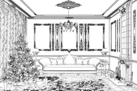 3d illustration. Sketch of a living room with a fireplace on holidays