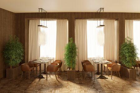 3d Illustration of the restaurant interior in the day 免版税图像