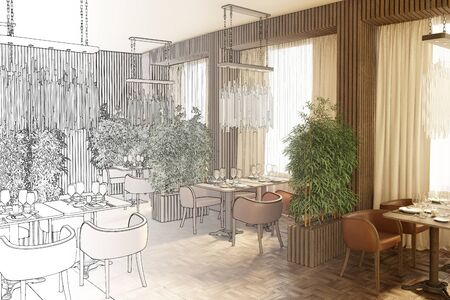 3d illustration. Drawing sketch of the restaurant becomes a real interior