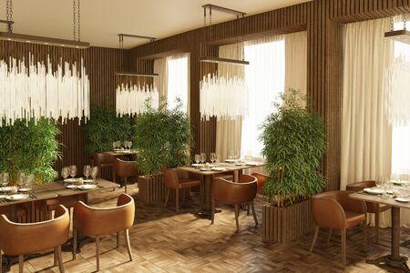 3d Illustration of the restaurant interior in the evening 免版税图像