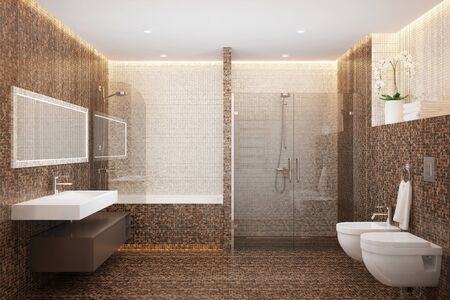 3d rendering of a mosaic shower room