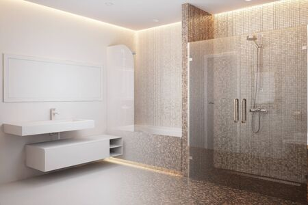 3d rendering of a shower room becomes a real interior 免版税图像