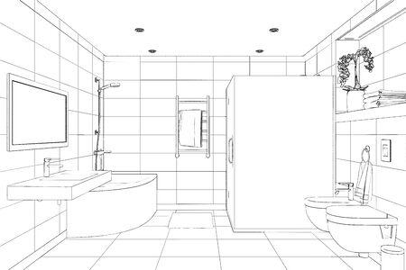 3d illustration. Sketch of the modern shower room. Front view.