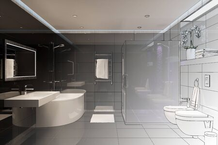 3d illustration. Drawing sketch of the shower room turns into a real interior