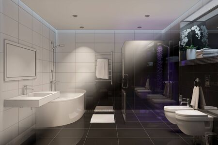 3d illustration. Computer generated shower room turns into a real interior
