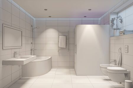 3d illustration of white shower room with overlay drawing 免版税图像
