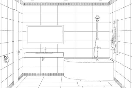 3d illustration. Sketch of modern bathroom interior 免版税图像