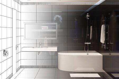 3d illustration. Sketch of modern bathroom interior turns into a real interior
