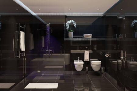 3d illustration of black modern shower room