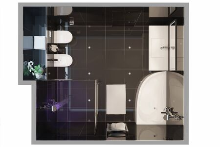 3d illustration. Top view of a modern bathroom interior