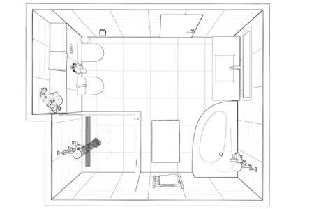 3d illustration.Sketch of modern bathroom interior. Top view. 免版税图像