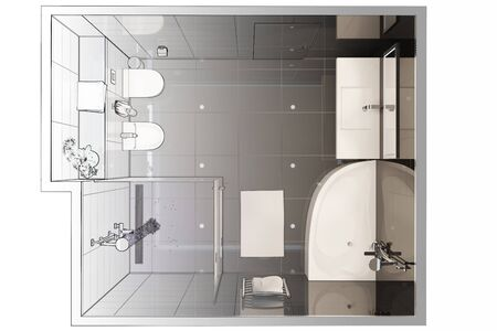 3d illustration. Sketch of modern bathroom interior turns into a real interior. Top view. 免版税图像