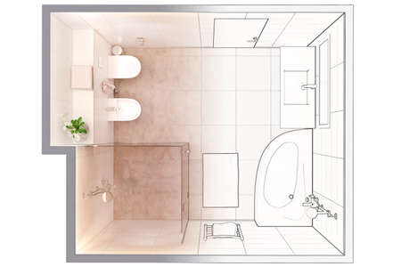 3d illustration. Sketch of modern bathroom interior turns into a real interior. Top view. Stockfoto