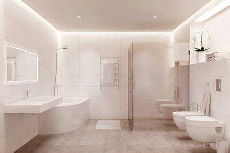 3d illustration of a white modern shower room. Front view.