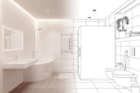 3d illustration. The drawing sketch of a white shower room turns into a real interior. Front view Stockfoto