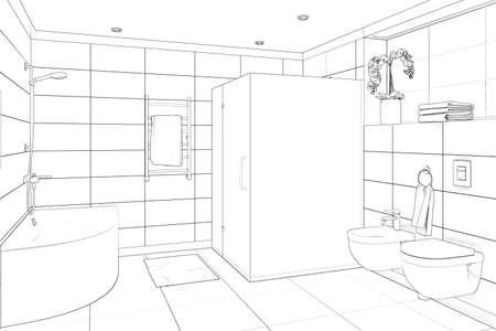 3d illustration. Sketch of modern bathroom interior Stockfoto