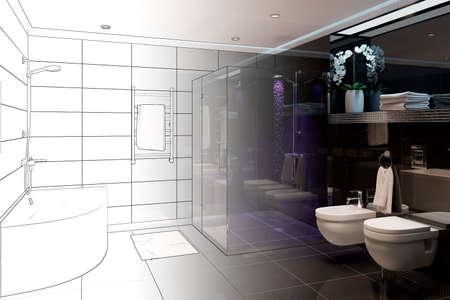 3d illustration. Sketch of modern black bathroom interior