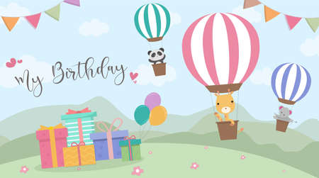 Happy Birthday cartoon card with air balloons,Vector Illustration,Birthday greeting cards with cute animals,Funny animals on hot air balloon
