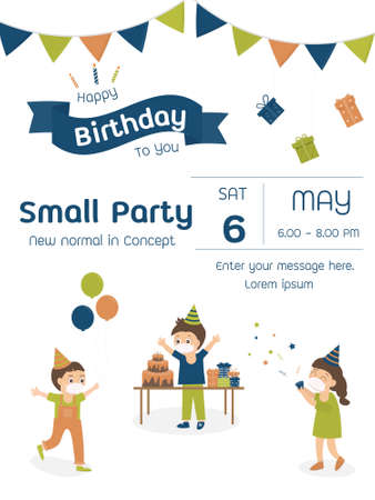Children new normal in concept small birthday party invitation card design illustration. vector illustrator.