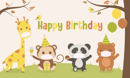 Cute animals wear mask cartoon illustration happy birthday small party in the forest ,vector illustrator, birthday card
