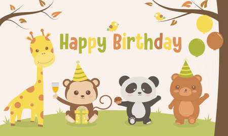 Cute animals cartoon illustration happy birthday small party in the forest ,vector illustrator, birthday card Çizim