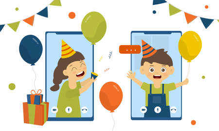 A girl holding a paper shoot Surprise the birthday boy with a smile in a video call via mobile phone in the new normal concept.A boy holding a balloon smiling at a video call .vector illustration. Illustration