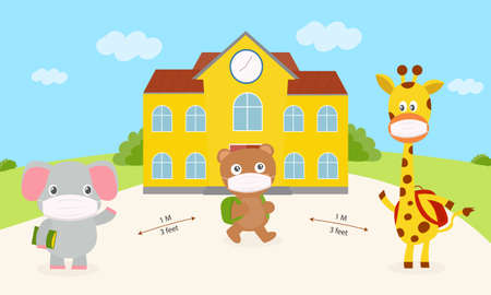 Elephant, bears and giraffes wear mask are walking to school new normal concept. Set cute animal wearing a mask to prevent germs in school. Bear and giraffes carrying bags. An elephant holding a book Illustration