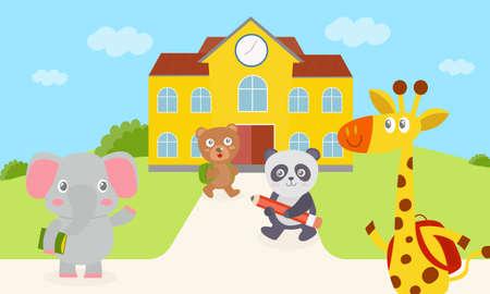 Elephant, bear, panda and giraffes are walking into school. Giraffe and bear carrying a bag green and red. An elephant carrying a book. Panda holding a pencil. Set cute animal.Vector illustration. Illustration