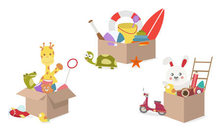 Toy Box, full of children´s toys including Giraffe doll Crocodile doll, Ball, rabbit, bear, book, plane, bird, pencil, Cardboard boxes with kids toys for playroom or kindergarten. vector illustrator