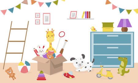 Kids toys in boxes. Playroom kids in nursery. Baby room interior. Cartoon childrens room with kid toys on the floor. Baby room Flat style vector illustration.
