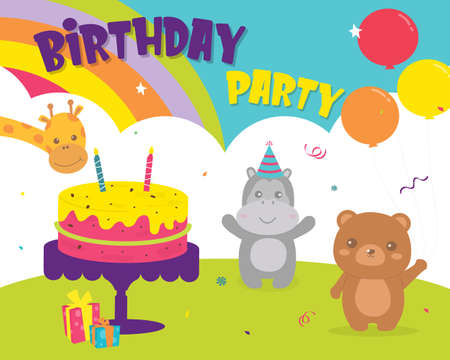 Happy Birthday with decoration for greetings card. Set birthday Party Bear, hippopotamus and giraffe cards design invitation. Card for kids and baby shower. Colorful cute card design. Ilustración de vector