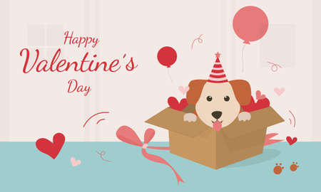 Happy Valentine's Day with cute dog vector. The gift box was opened, there was a dog sitting in the gift box. Vector illustration card with cute cartoon little Valentine.
