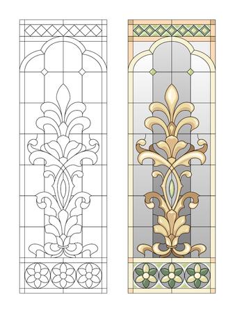 vidro: Painel de vidro manchado com elementos de fusão Ilustração