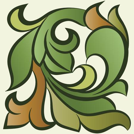 art flower: floral pattern, leaves, grass Illustration