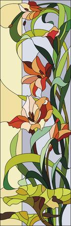 グラジオラスとステンド グラスのパターン  イラスト・ベクター素材
